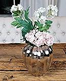 MichaelNoll Vase Blumenvase Gefäß Pokalvase Dekovase Aluminium Silber, Deko Modern aus Metall, Wohnzimmer und Küche, 17 cm