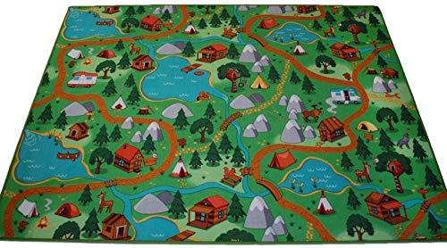 Kinderteppich Spielteppich Camping Hiking Wald Velours grün Verschiedene Größen (140 x 200 cm)