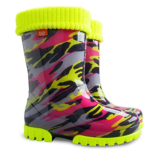 Kinder Regen Gummistiefel Regen Schnee Stiefel Schuhe Socken Kinder Gummistiefel_Salamander - Pink/Fluoreszierend Gelb, 12/13 UK