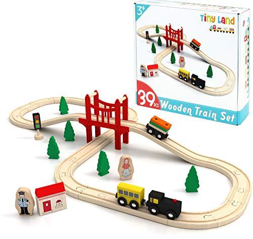 Tiny Land Circuit Train Enfant,Trains et véhicules & Rails Pack(39 pcs)