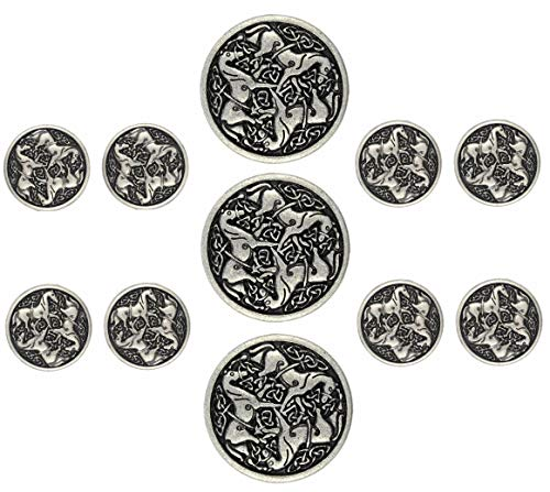 Bezelry Celtic Horses Metal Shank Buttons. Blazer Button Set. 3 Pcs of 25mm, 8 Pcs of 18mm (Antique Silver)