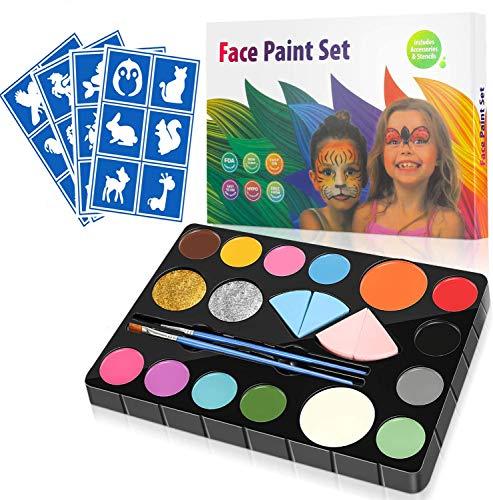 Tenflyer Kinderschminke Set - Gesichtsfarben Kinder, 14 Farbe Professionelle Schminkpalette,...
