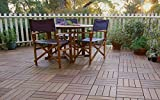 NATURAL: Wooden deck tiles are made from 100% solid IPE wood and then sanded and oiled for a stunningly smooth finish. Wood tiles flooring, patio pavers, and composite decking patterns are compatible. Designed at,300 x 300mm you can mix and match for...