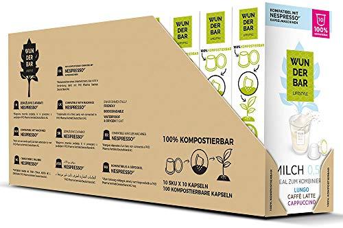 Wunderbar Lifestyle Milch - 100 kompostierbare Milchkapseln, Nespresso kompatibel