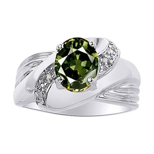 Juego de anillos de zafiro verde y diamante en oro blanco de 14 quilates – piedra de color Anillo de nacimiento