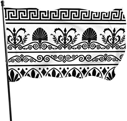 Garten Flagge, Patry Flagge, 3 X 5 ft Retro griechischen Muster Hintergrund dekorative Garten Fahnen, Outdoor künstliche Flagge für Zuhause, Garten Hof Dekorationen