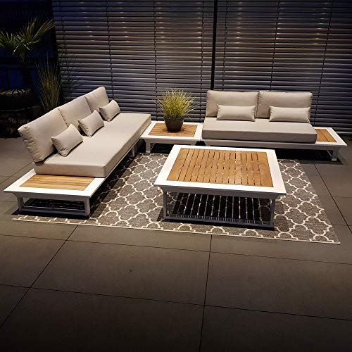 ICM Alu Gartenlounge Set Cannes Aluminium weiß Teak Gartenmöbel Loungegruppe Terrassenmöbel Outdoormöbel Loungeset Outdoorlounge Gartenmöbelset