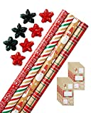 American Greetings Christmas Wrapping Paper Kit with Gridlines, Bows and Gift Tags, Stripes, Plaid and Snowmen (41-Count, 4 pack, 120 sq. ft)