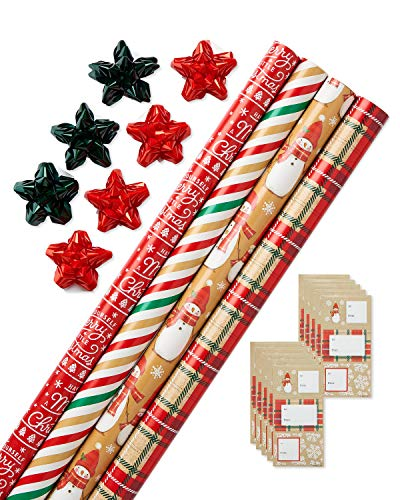 American Greetings Christmas Wrapping Paper Kit with Gridlines, Bows and Gift Tags, Stripes, Plaid and Snowmen (41-Count, 4 pack, 120 sq. ft), tan, red and green wrapping paper, bows (6393120)