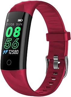 HZYYZH Pulsera De Los Deportes Control De Actividad De Ritmo Cardíaco Ejercicio De Control IP68 Pulsera Inteligente A Prueba De Agua Natación,Rojo