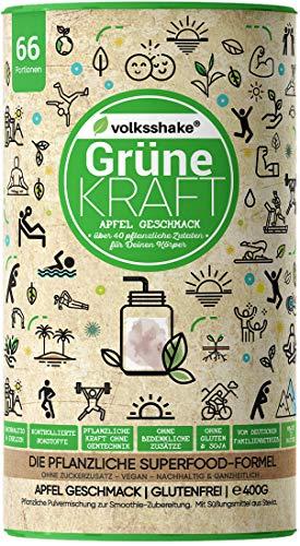 GRÜNE KRAFT - APFEL | Volksshake | natürliches Smoothiepulver aus Deutschland - über 40 bezaubernde Naturstoffe wie Weizengras, Moringa, Maca, Kurkuma & mehr