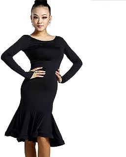 Reisam Latin Dance Dress for Women Ballroom Dance Skirt Long Latin Dance Costume Training Dress Practice Skirt