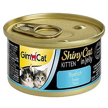 GimCat ShinyCat Kitten in Jelly Thon – Nourriture humide pour jeunes chats au poisson et à la taurine – 24 boîtes (24 à 70 g)