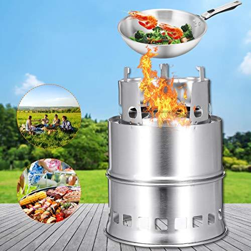 Select Zone Hornillo de leña de acero inoxidable para camping, picnic, barbacoa, hornillo de alcohol