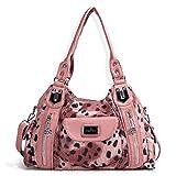 Handbag Hobo Women Handbag Roomy Multiple Pockets Street ladies' Shoulder Bag Fashion PU Tote Satchel Bag for Women (AK812-2Z Pink) (AK812-2Z Pink Leopard)