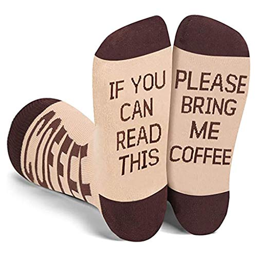 Kemelo Funny Saying If You Can Read This Crew Calcetines Bring Me Coffee Tube Medias Regalo, Liners Tobillo Calcetín, Café