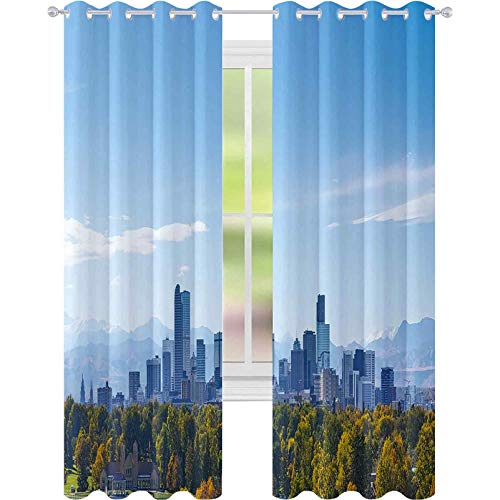 YUAZHOQI Print Curtains Denver Skyline at noon W52 x L84 Curtains for Patio Glass Door