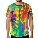 Camiseta para Hombre Niños Rainbow Tropical Palm Tree Manga Corta Personalizada