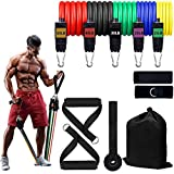 Workout Bands with Handles for Men, Resistance Bands for Ankles, Set of 11 (Stackable Up to 155 lbs)-Resistance Bands Set with Handles, Door Anchor, Ankle Straps and Carrying Bag, Home Workout Band