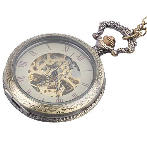 81stgeneration Collar Colgante Reloj de Bolsillo Analógico Mecánico Estilo Vintage Mujer Hombre Latón, 78 cm