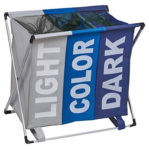 URBNLIVING Wäschekorb mit 3 Fächern für helle und dunkle Kleidung, faltbar blau/grau