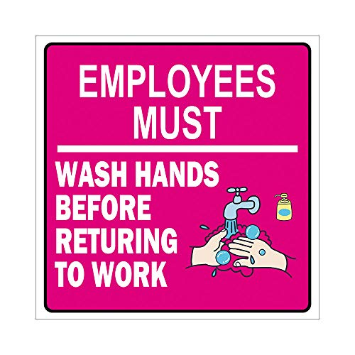 Unknow In Pink Color Square Employees Must Wash Hand Antes de regresar al trabajo, decoración de pared, vinilo adhesivo para pared