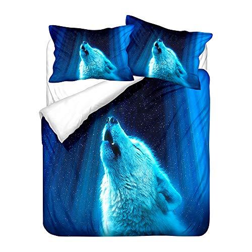 Surwin Juego de 3 Piezas Juego de Ropa de Cama, Microfibra Estilo Nórdico 1 Funda Nórdica y 2 Funda de Almohada, Fundas Edredón Impresión de Lobo 3D (océano Azul,200x200cm)