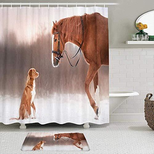 EricauBird Cortina de ducha, diseño de caballo rojo y perro caminando en el campo, invierno Nova Scotia Duck Tolling Retriever, cortinas impermeables para baño de 182 x 182 cm