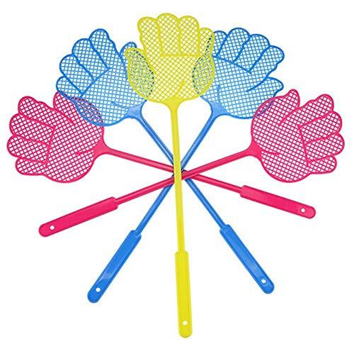 BigBigShop 2 Stück Plastik Fliegenklatsche Fliegenschutz Mückenschutz mit Hand Design für Fliegen, Mücken und Insekten, Zufällige Farbe