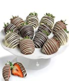 Gift - 12 Pieces - Belgian Chocolate DOUBLE Dipped Strawberries (An Assortment of Milk, White and Dark Chocolate)