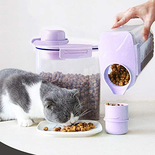 Ansee Pet Food Storage Container, Cereal Container with Airtight Design Pour Spout Measuring Swivel Cup, BPA-Free Dry Food Dispenser for Dogs Cats Birds (Purple)