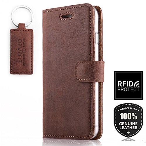 SURAZO RFID - Hülle Premium Vintage Ledertasche Schutzhülle Wallet Case aus Echtesleder Nubukleder Farbe Nussbraun für Google Pixel 3A XL