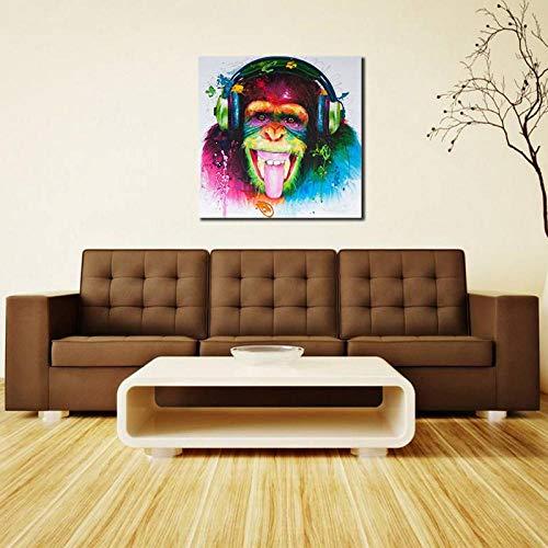 Terilizi Moderne grappige muziek AFFE met koptelefoon canvas gedrukt schilderij muurkunst voor woonkamer decoratie 50x50cm geen lijst