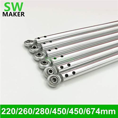 GIMAX SWMAKER 3D Printer Aluminum Alloy Diagonal Push Rod Arm + Rod End Bearing for Rostock Delta Kossel Mini - (Size: 280mm)