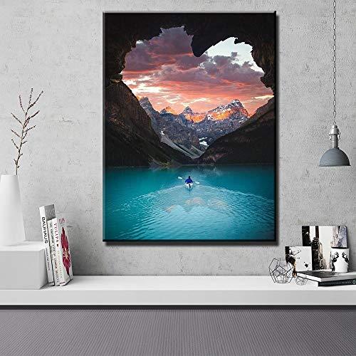 wZUN Artista de Pared Decoración de la casa Canoa Kayak Cartel del Nuevo Mundo Impresión de la Lona 50x75 Sin Marco