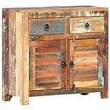 Goliraya Aparador con 2 Puertas y 2 Cajones Armario de Almacenaje Aparador para Salón de Madera Maciza Reciclada 70x30x68 cm