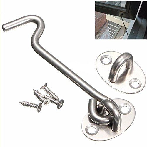 BETOOL Latch Hook, 1pc Latches & Bolts Hook Stainless Steel 4 inch Multi-Purpose Hooks for Gate Window Door Catch Silent Brace with Screws