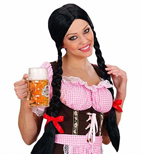 Gretel Perücke mit Zöpfen schwarz Perrücke
