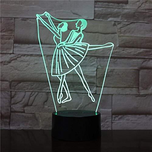 3D nachtlampje danseres in rok nachtlampje De optische illusie 3D/bedlampje voor kinder/binnenverlichting/tafel- en nachttafellampje/kindergeschenk Afstandsbediening.
