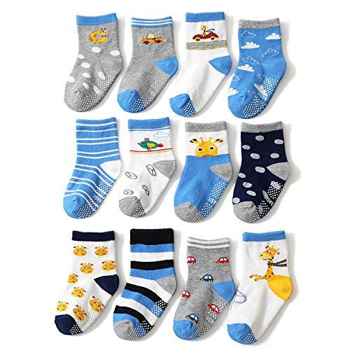YANWANG 12 Pares de Calcetines de Algodón Antideslizantes Con Agarre para Bebés y Niños Pequeños(1-3 años,6#Jirafa)