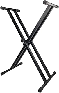 X-Style Piano Keyboard Stand Adjustable and Portable Heavy Duty Music Stand with Anchoring Strap Black