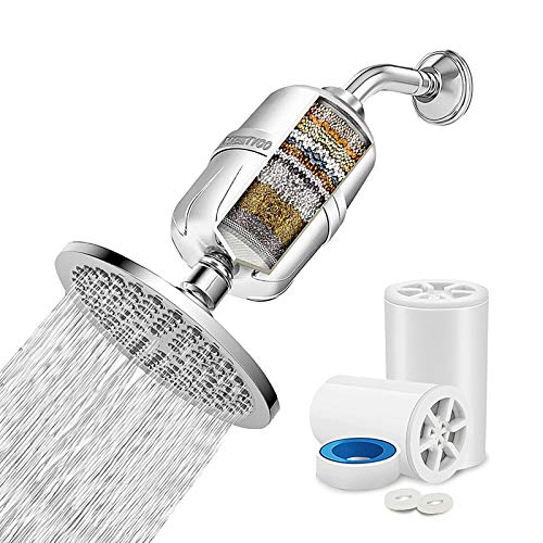 Shower Filter for Hard Water, 17 Stage High Output Showerhead Water Softener with 2 Cartridges, Vitamin C Universal Shower Purifier Removes Chlorine Fluoride Heavy Metals