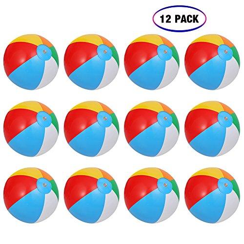 ThinkMax 10' inflables Pelotas de Playa niños para Fiesta en la Playa (12 Piezas)