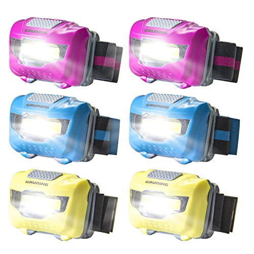 Headlamp Set Flashlight for Adults and Kids ( 6 Packs) - Waterproof Super Bright COB Head Lamp with White Light, Comfortable Headband Perfect for Running, Camping, Hiking, Fishing