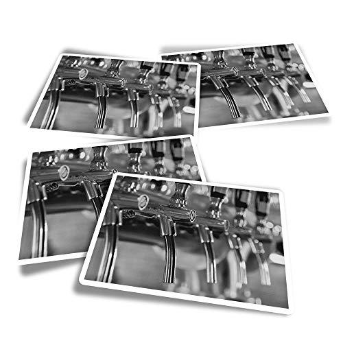 Pegatinas rectangulares de vinilo (juego de 4) - BW - Cerveza grifos Bar Pub Restaurante Divertido Calcomanías para portátiles, tabletas, equipaje, reserva de chatarra #42556