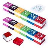 PracticOffice - Pack 6+6 Sellos Motivación para Niños y Jovenes, Ideal Padres y Profesores. Francés e Inglés