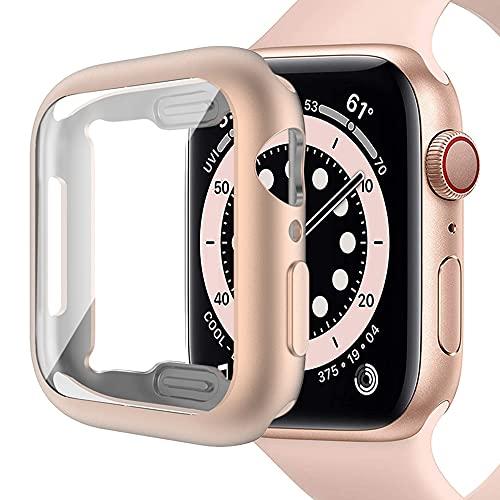Miimall Compatible con Apple Watch Series 6/SE/5/4 40mm Funda con Protector de Pantalla, Mate Suave TPU Carcasa Ultrafina Resistente a los arañazos Funda para iWatch 40mm - Oro Rosa