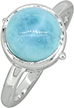 YoTreasure Natural Larimar Ring Solid 925 Sterling Silver Jewelry