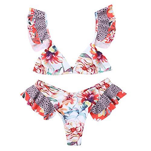 Senyounight - Bikini de cintura alta con cuello en V para mujer, estilo bohemio, estampado floral, color vino, mediano