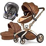 Cochecito de bebé Hot Mom 3 en 1 con Sillas de paseo, 2020 Lifestyle F22 con 3 piezas - Blanco Negro